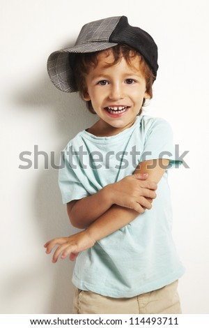 portrait of a little boy over isolated background - stock photo