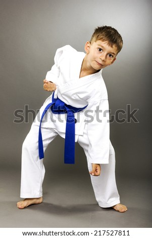 Portrait of a little boy training karate isolated on gray background - stock photo