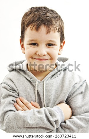 Portrait of a little boy with grey hoodie sweatshirts. Isolated on white background  - stock photo