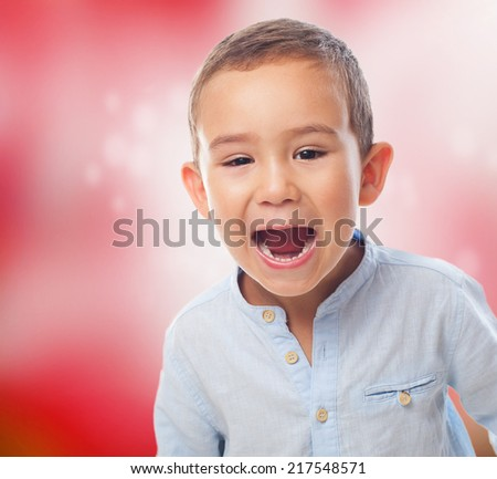 portrait of a little boy with shouting gesture - stock photo