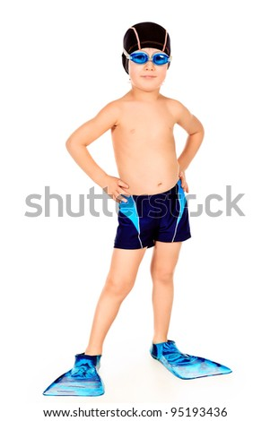 Portrait of a little boy with swimming accessories. Isolated over white.