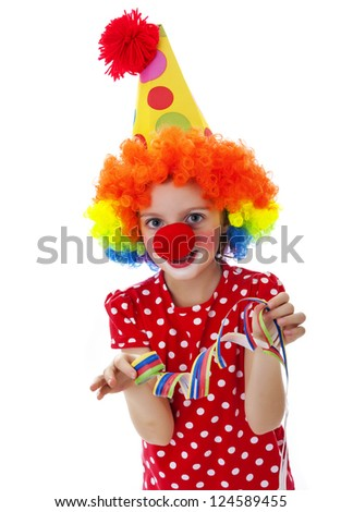 portrait of a little clown on white background