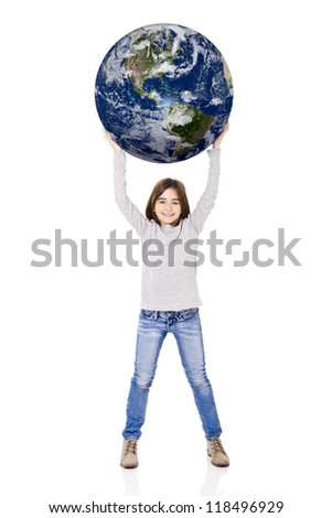 Portrait of a little girl holding a small planet earth on her hands, isolated on white background - stock photo