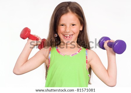 portrait of a little girl in green clothes - stock photo