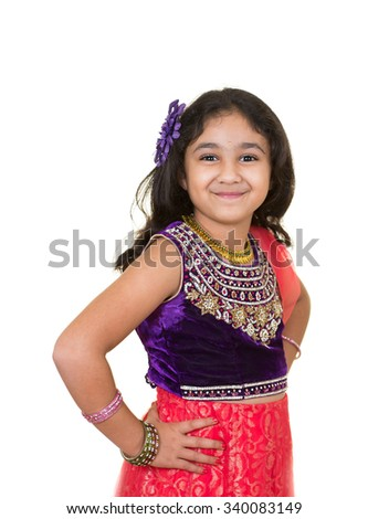 Portrait of a Little Girl in Traditional Indian Costume of a Little Girl in Indian Dance Pose, Isolated, White - stock photo
