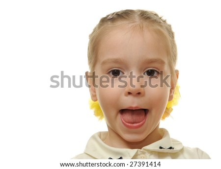 Portrait of a little girl isolated on a white background