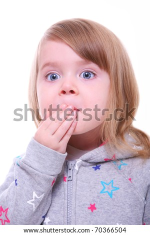 portrait of a little girl looking surprised. child closing her mouth. isolated on white  - stock photo