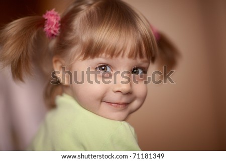 Portrait of a little girl - shallow DOF, focus on front eye - stock photo