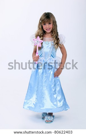 portrait of a little girl with costume - stock photo