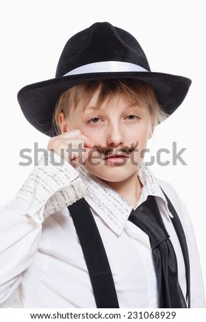 Portrait of a Little Girl with Hat Posing as a Gangster - stock photo