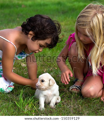 portrait of a little girl with puppy - stock photo