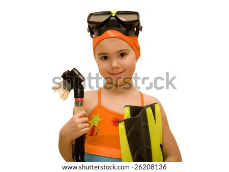 Portrait of a little girl with snorkel equipment over white - stock photo