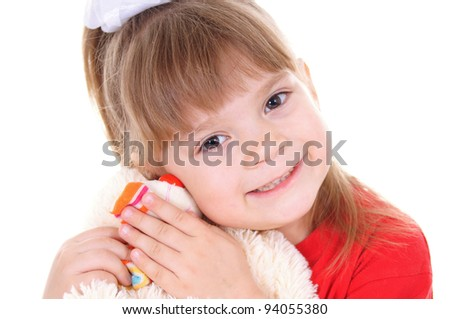 portrait of a little girl with toy