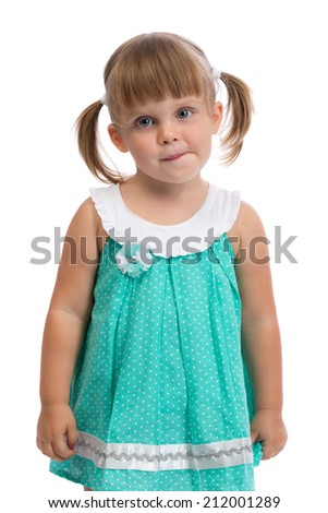 Portrait of a little three year old charming girl in the studio on a white background. Isolate. - stock photo
