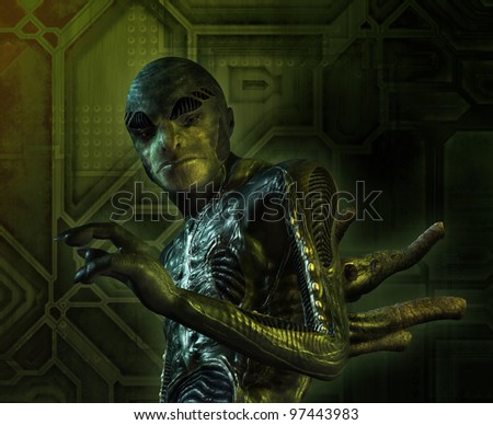Portrait of a lizard-like alien - 3D render with digital painting. - stock photo