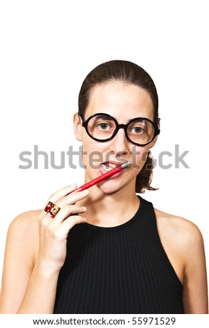 portrait of a lost in thought girl with red pen near her lips isolated on white