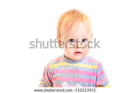 Portrait of a lovely baby girl. Isolated over white background.