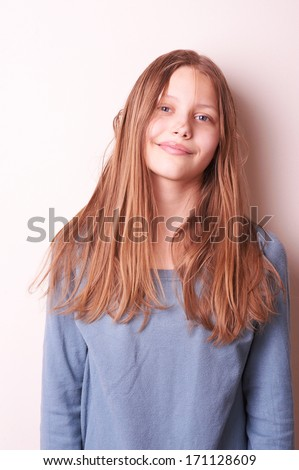 Portrait of a lovely cute teen girl - stock photo