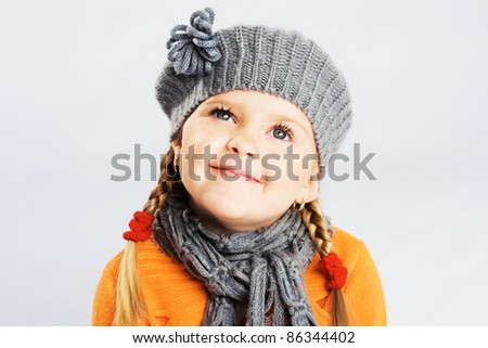 Portrait of a lovely little girl - stock photo