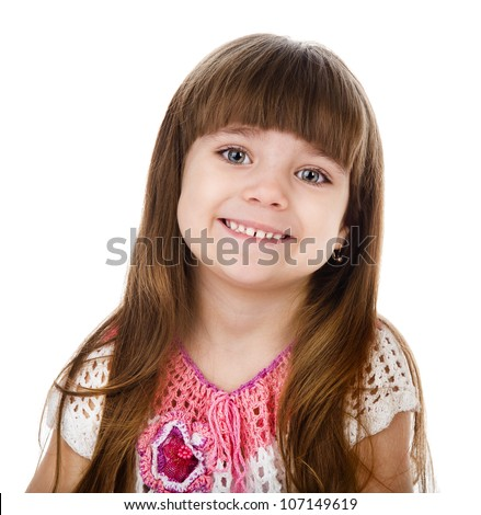 Portrait of a lovely little girl.  isolated on white background