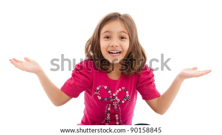 portrait of a lovely little girl, surprised, wondering, isolated on white background