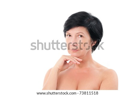 Portrait of a lovely mature lady - stock photo