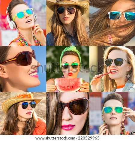 Portrait of a lovely young girls in sunglasses. Set of nine portraits - stock photo