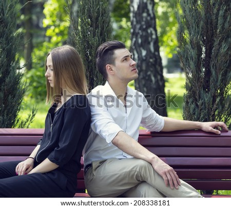 portrait of a loving couple on nature in park