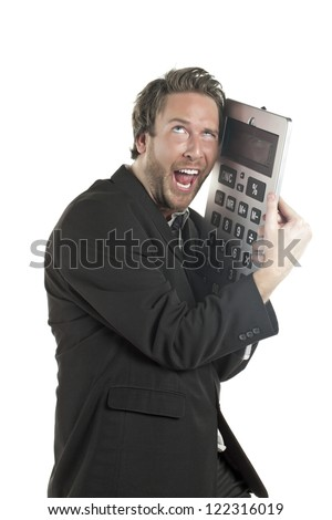 Portrait of a mad Accountant hugging a giant calculator