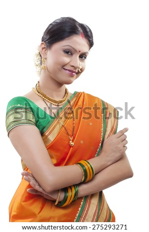 Portrait of a Maharashtrian woman smiling