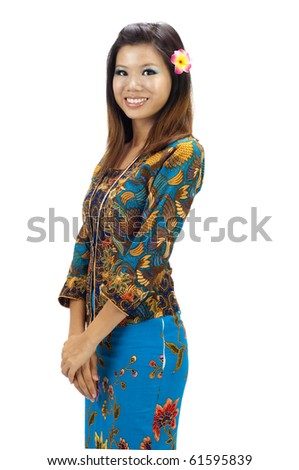 Portrait of a Malay woman with kebaya on white background