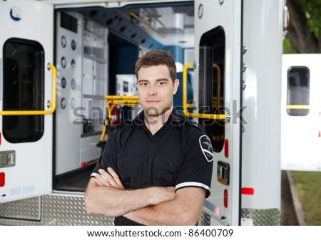 Portrait of a male Ambulance Personal - stock photo