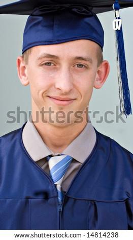Portrait of a male high school graduate - stock photo