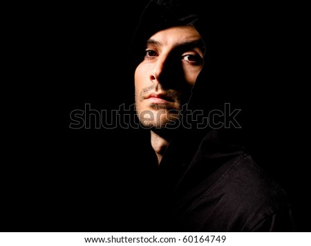 Portrait of a male model in the dark