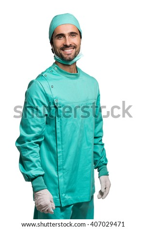 Portrait of a male surgeon. Isolated on white - stock photo