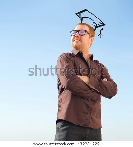 Portrait of a male to sketch a graduate student cap. Confident mature man smiling. Outdoor portrait of handsome man posing at blue sky. Life style. Charismatic man glasses. Sketch - graduation cap - stock photo