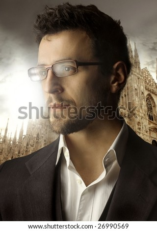 portrait of a man against the milan cathedral - stock photo