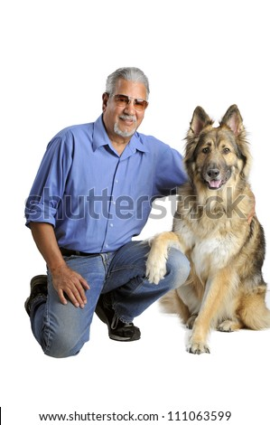 Portrait of a man and his dog isolated on white - stock photo