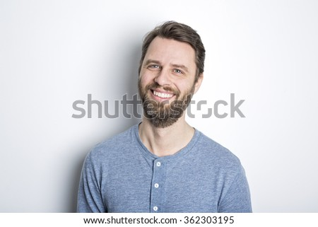 portrait of a man  beard - stock photo