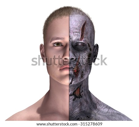Portrait of a man before and after becoming a zombie - 3D render with digital painting. - stock photo
