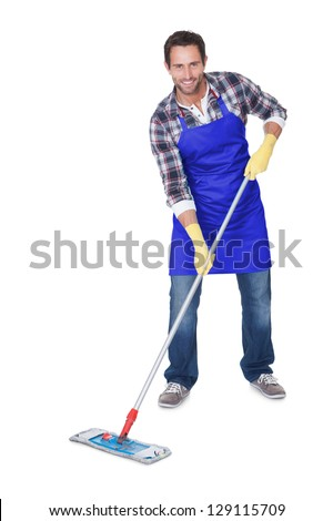 Portrait of a man cleaning floor. Isolated on white - stock photo