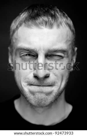 Portrait of a Man. Close up. Selective focus. - stock photo