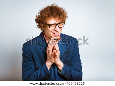 portrait of a man cunning, isolated on background - stock photo
