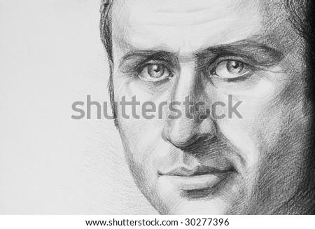 portrait of a man, drawn pencil - stock photo