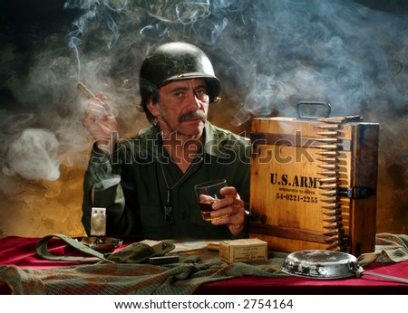 Portrait of a man in a military style, horizontal image - stock photo