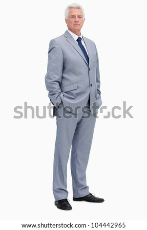 Portrait of a man in a suit against white background