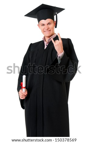 Portrait of a man in an academic gown holding a diploma, isolated on white background