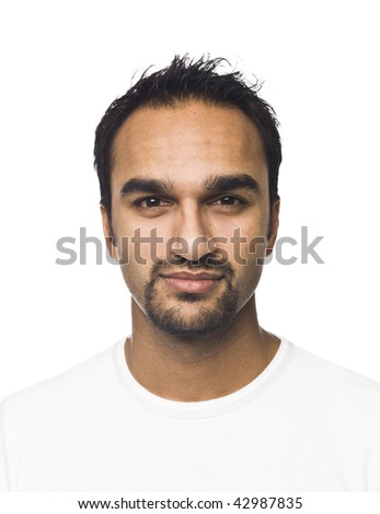 Portrait of a man isolated on a white background - stock photo