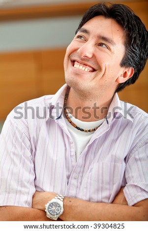 Portrait of a man looking very happy