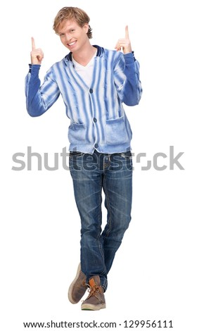 Portrait of a man pointing his fingers up against white background - stock photo